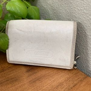 Coach white and blue leather fold over wallet